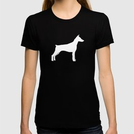 Doberman Pinscher dog pattern grey and white minimal dog breed silhouette dog lover gifts T-shirt