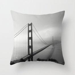 The Golden Gate Bridge In A Mist Throw Pillow