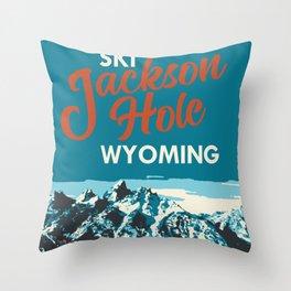 Ski Jackson Hole Wyoming Vintage Ski Poster Throw Pillow