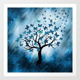 Butterfly Tree - Blue Marble Mist Art Print