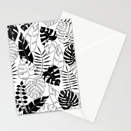 black and white tropical minimal leaves poster Stationery Cards