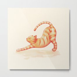 Yoga Cat Metal Print