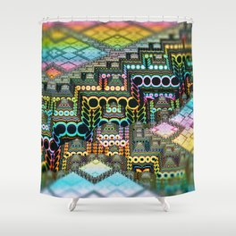 infrastructure IV. Pastel Pyramids Shower Curtain