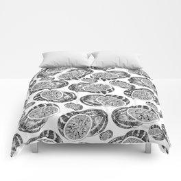 Modern hand drawn black white watermelon pattern Comforters
