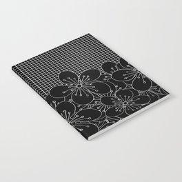 Cherry Blossom Grid Black Notebook