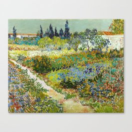 1888-Vincent van Gogh-Garden at Arles, Flowering Garden with Path-88x102 Canvas Print