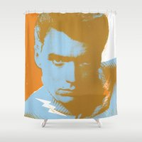 clint eastwood Shower Curtains featuring clint by zemoamerica