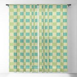 Squares Plaid Pattern Checks Green Tones Checkered Sheer Curtain