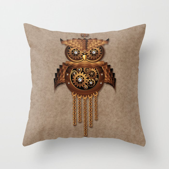 Vintage Style Throw Pillows : Steampunk Owl Vintage Style Throw Pillow by bluedarkatlem Society6