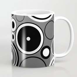 Geometric black and white rings on metallic silver Coffee Mug