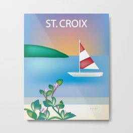 St. Croix, Virgin Islands- Skyline Illustration by Loose Petal Metal Print
