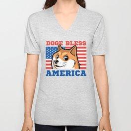 Doge Bless America Unisex V-Neck