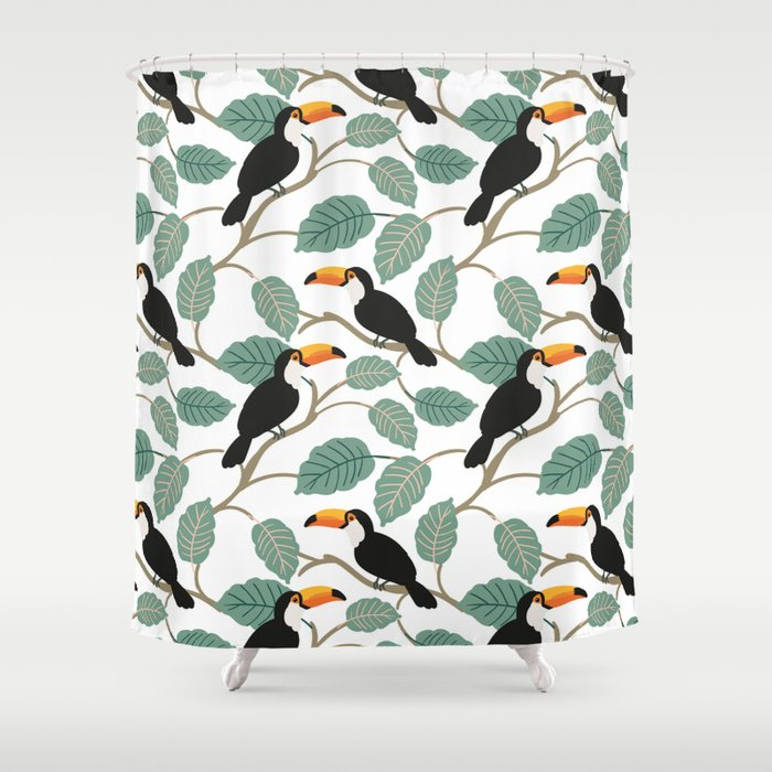 Toucan Birds And Palm Leaves In The Jungle Shower Curtain