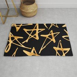 24-Karat Big Gold Stars Pattern on Elegant Charcoal Rug