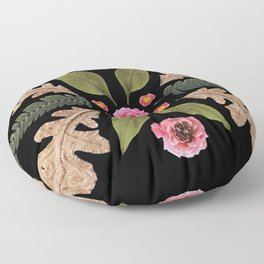 ROSE & LEAVES COLLAGE BLACK BACKGROUND Floor Pillow