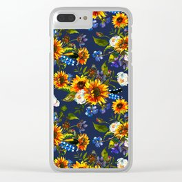 Modern yellow orange blue watercolor sunflower floral pattern Clear iPhone Case