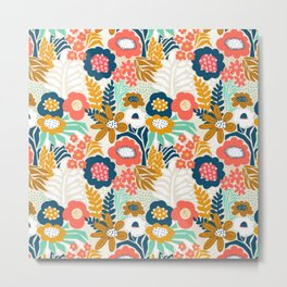 Flower Collage Blue White Green Red Gold Metal Print