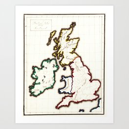 Vintage Map of The British Isles (1860) Art Print