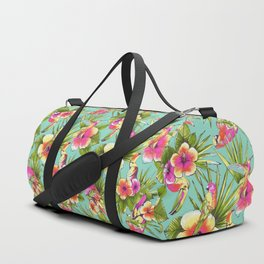 Tropical flowers with parrots Duffle Bag