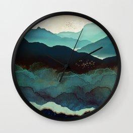 Indigo Mountains Wall Clock