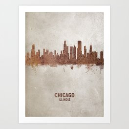 Chicago Illinois Rust Skyline Art Print