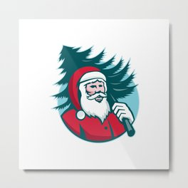 Santa Claus Carrying Christmas Tree Retro Metal Print