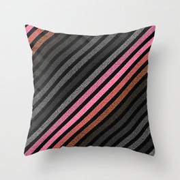 StRiPeS Slate Gray Pink Living Coral Pixels Throw Pillow