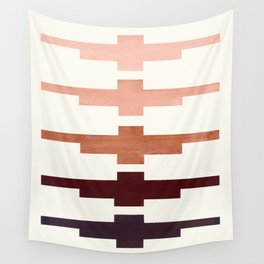 Raw Umber Minimalist Abstract Inca Pattern Midcentury Watercolor Geometric Painting Wall Tapestry