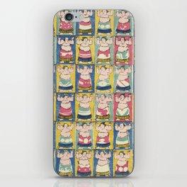 Sumo Wrestlers, Utagawa Yoshikazu, Woodcut iPhone Skin