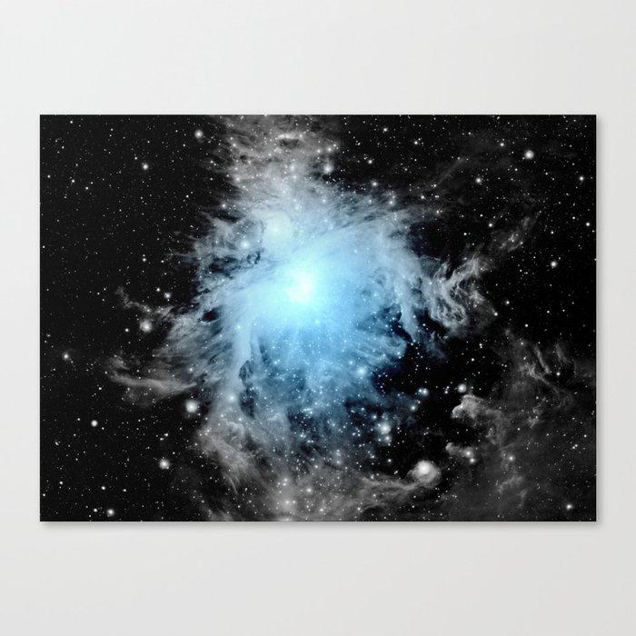 Orion nebULa Black White Blue Space Canvas Print