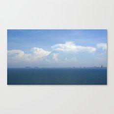 Ocean Sea Horizon with Mountains & Clouds Canvas Print