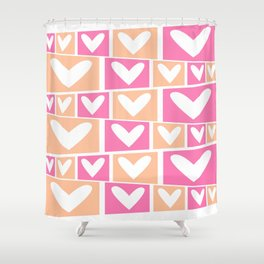 Custom Geographic Multicolor Peach and Pink Pattern Shower Curtain