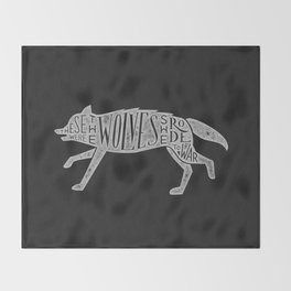 These Were The Wolves She Rode to War - Wolf by Wolf Throw Blanket