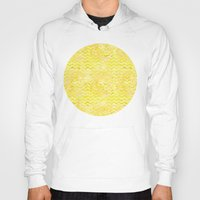 yellow pattern Hoodies featuring Yellow Chevron Pattern by Aloke Design