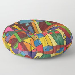 Colors In Collision 1 - Geometric Abstract of Colors that Clash Floor Pillow