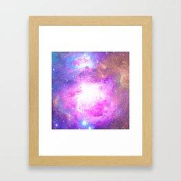 Colorful Pastel Pink Nebula Purple Galaxy Stars Framed Art Print