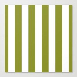 Dark Pastel Green Pepper Stem and White Wide Vertical Cabana Tent Stripe Canvas Print