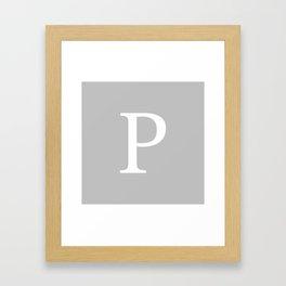 Silver Gray Basic Monogram P Framed Art Print