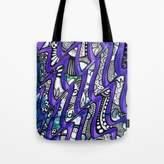 Tangles in the purple waves Tote Bag