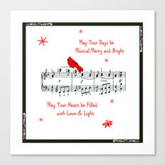 Merry Music and Red Bird Canvas Print