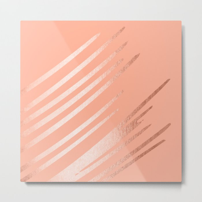 Sweet Life Swipes Peach Coral Shimmer Metal Print