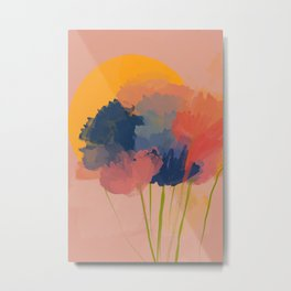 Colorful Messy Flowers In The Sun Metal Print