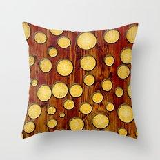 Wood and gold Throw Pillow