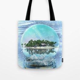 Snow Globe Island Tote Bag