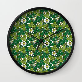 green density full of leaves and flowers Wall Clock