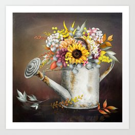 Farm Sunflowers in Watering Can Art Print