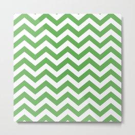 Grass Green Chevron Zig Zag Pattern Metal Print