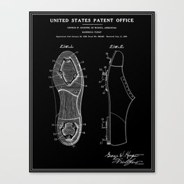 Baseball Cleat Patent - Black Canvas Print