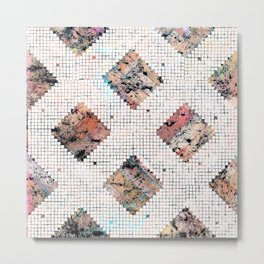 Pastel Check Pattern Metal Print