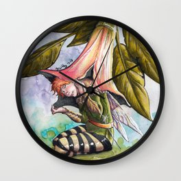 Fairy hiding under angel trumpet Wall Clock